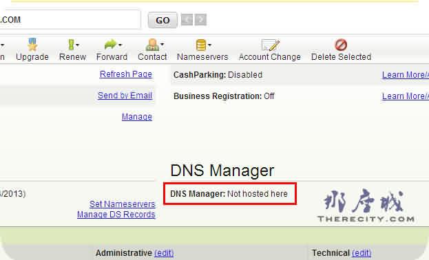 关于godaddy主机DNS管理显示DNS Manager: (Not hosted here)问题